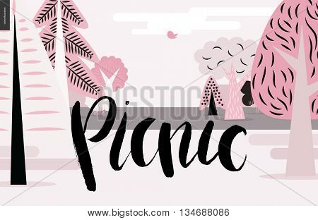 A vector cartoon black brush hand written lettering Picnic on pink forest landscape background