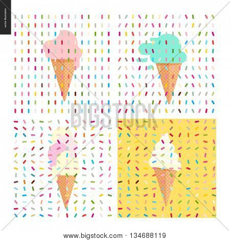 Four various Ice cream scoops in cones and sprinkles patterns.