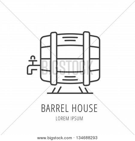 logo or label barrel house. Line style logotype template with barrel. Easy to use business template. Vector abstract logo or emblem.