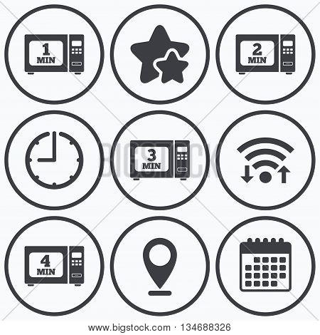 Clock, wifi and stars icons. Microwave oven icons. Cook in electric stove symbols. Heat 1, 2, 3 and 4 minutes signs. Calendar symbol.