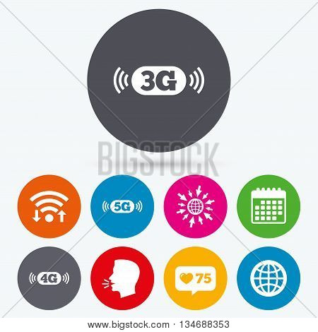 Wifi, like counter and calendar icons. Mobile telecommunications icons. 3G, 4G and 5G technology symbols. World globe sign. Human talk, go to web.