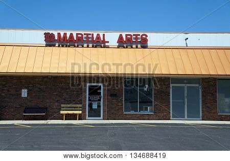 SHOREWOOD, ILLINOIS / UNITED STATES - AUGUST 21, 2015: One may study martial arts at Mun's Korean Martial Arts School, in a Shorewood strip mall.
