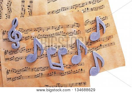 Music notes on table
