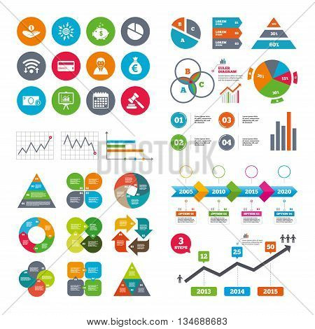 Wifi, calendar and web icons. Money, cash and finance icons. Piggy bank, credit card and auction signs. Presentation, pie chart and businessman symbols. Diagram charts design.