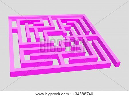 A complex maze surround in crimson. Vector illustration