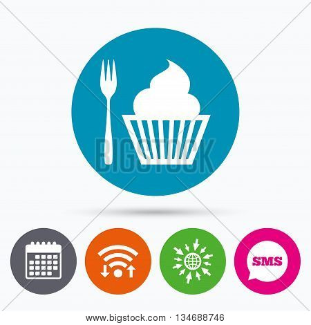 Wifi, Sms and calendar icons. Eat sign icon. Dessert trident fork with muffin. Cutlery symbol. Go to web globe.