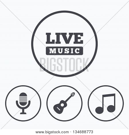 Musical elements icons. Microphone and Live music symbols. Music note and acoustic guitar signs. Icons in circles.