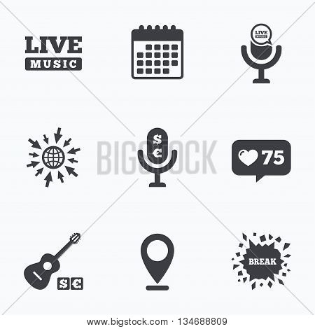 Calendar, like counter and go to web icons. Musical elements icons. Microphone and Live music symbols. Paid music and acoustic guitar signs. Location pointer.