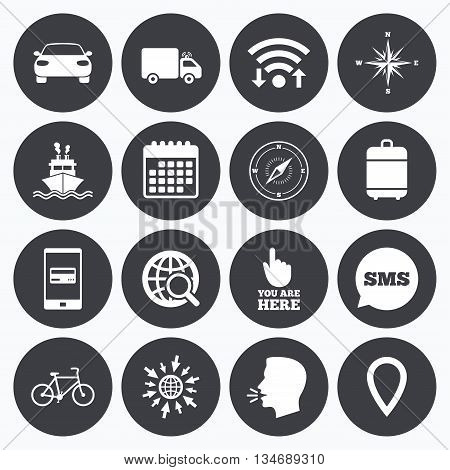 Wifi, calendar and mobile payments. Navigation, gps icons. Windrose, compass and map pointer signs. Bicycle, ship and car symbols. Sms speech bubble, go to web symbols.