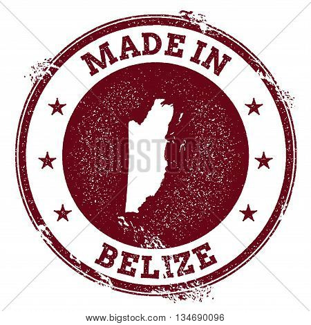 Belize Vector Seal. Vintage Country Map Stamp. Grunge Rubber Stamp With Made In Belize Text And Map,