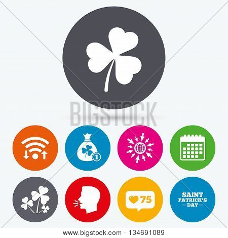 Wifi, like counter and calendar icons. Saint Patrick day icons. Money bag with clover and coin sign. Trefoil shamrock clover. Symbol of good luck. Human talk, go to web.