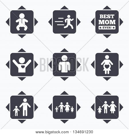 Icons with direction arrows. People, family icons. Maternity, person and baby signs. Best mom, father and mother symbols. Square buttons.