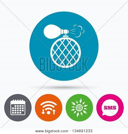 Wifi, Sms and calendar icons. Perfume bottle sign icon. Glamour fragrance symbol. Go to web globe.