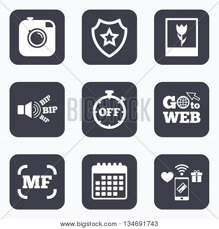 Mobile payments, wifi and calendar icons. Hipster retro photo camera icon. Manual focus symbols. Stopwatch timer off sign. Macro symbol. Go to web symbol.