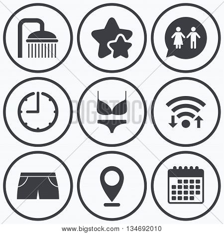Clock, wifi and stars icons. Swimming pool icons. Shower water drops and swimwear symbols. WC Toilet speech bubble sign. Trunks and women underwear. Calendar symbol.