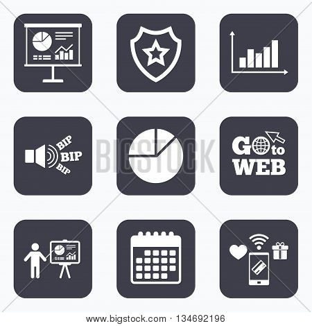 Mobile payments, wifi and calendar icons. Diagram graph Pie chart icon. Presentation billboard symbol. Supply and demand. Man standing with pointer. Go to web symbol.