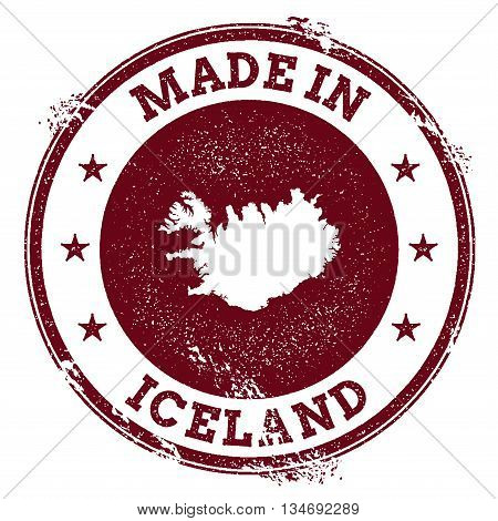 Iceland Vector Seal. Vintage Country Map Stamp. Grunge Rubber Stamp With Made In Iceland Text And Ma