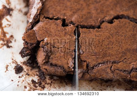 closup surface of brown crispy homemade brownie