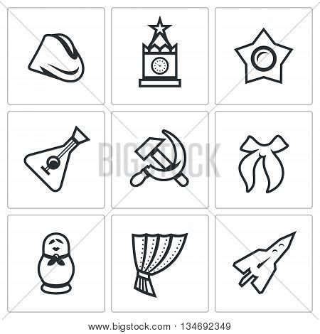 Symbols of Russia. Historic building, event, souvenir, ideology, music instrument, industry