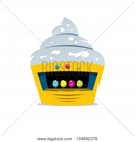 Yellow candy shop with ice cream on the roof. Isolated on a white background