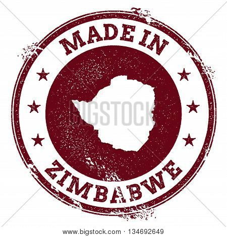 Zimbabwe Vector Seal. Vintage Country Map Stamp. Grunge Rubber Stamp With Made In Zimbabwe Text And