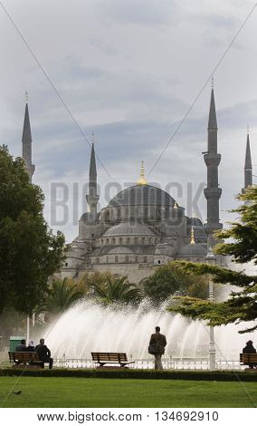 View of Hagia Sophia from park in Istanbul, Turkey