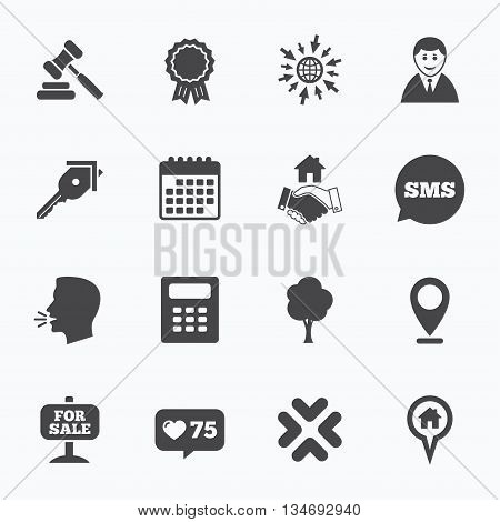 Calendar, go to web and like counter. Real estate, auction icons. Handshake, for sale and calculator signs. Key, tree and award medal symbols. Sms speech bubble, talk symbols.