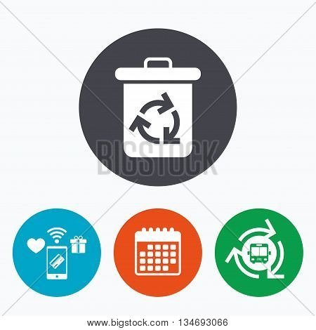 Recycle bin icon. Reuse or reduce symbol. Mobile payments, calendar and wifi icons. Bus shuttle.
