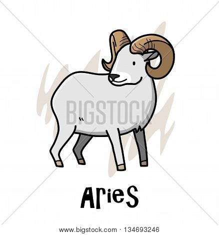Aries Zodiac, a hand drawn vector cartoon illustration of Aries zodiac, The Ram.