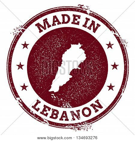 Lebanon Vector Seal. Vintage Country Map Stamp. Grunge Rubber Stamp With Made In Lebanon Text And Ma