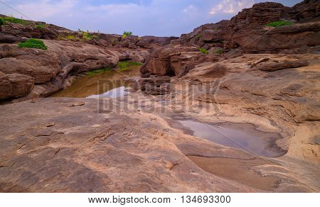 Rock beneath the river . In Pho Sai Province Caused by water erosion . A pool of more than 3000 wells.