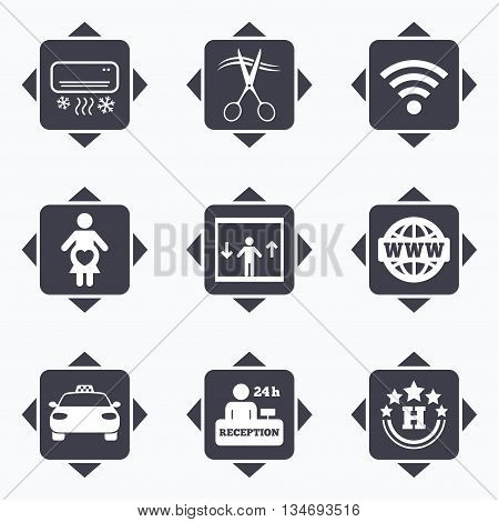 Icons with direction arrows. Hotel, apartment service icons. Barbershop sign. Pregnant woman, wireless internet and air conditioning symbols. Square buttons.