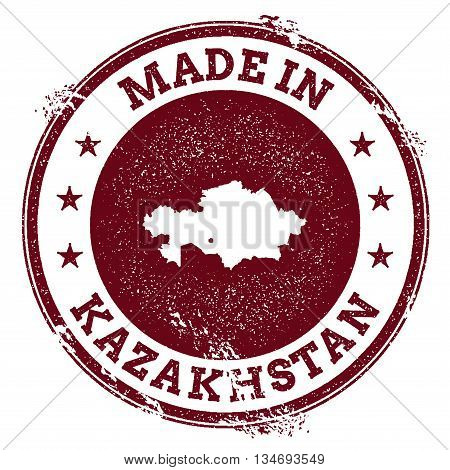 Kazakhstan Vector Seal. Vintage Country Map Stamp. Grunge Rubber Stamp With Made In Kazakhstan Text