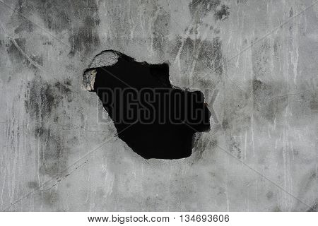 Cracked concrete texture with hole, concrete texture background