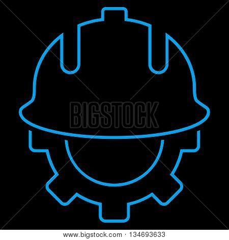 Development Helmet glyph icon. Style is linear flat icon symbol, blue color, black background.