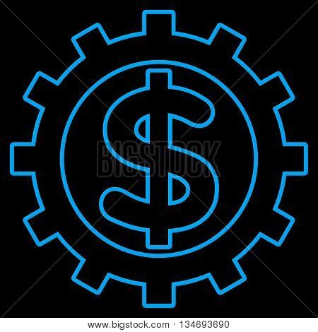 Financial Industry glyph icon. Style is outline flat icon symbol, blue color, black background.