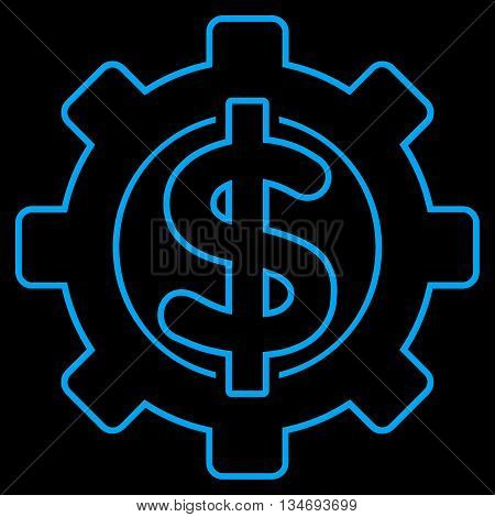 Financial Options glyph icon. Style is outline flat icon symbol, blue color, black background.
