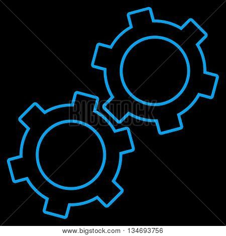 Gears glyph icon. Style is linear flat icon symbol, blue color, black background.
