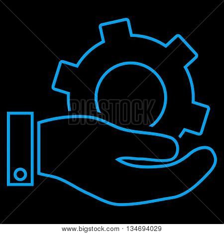 Service glyph icon. Style is contour flat icon symbol, blue color, black background.