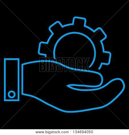 Service glyph icon. Style is outline flat icon symbol, blue color, black background.