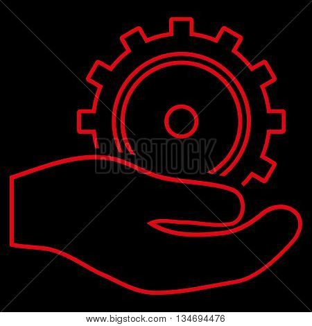 Development Service glyph icon. Style is linear flat icon symbol, red color, black background.
