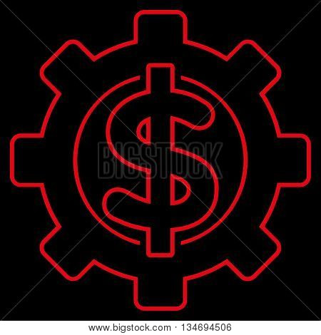 Financial Options glyph icon. Style is linear flat icon symbol, red color, black background.