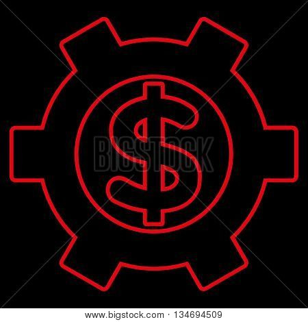 Financial Settings glyph icon. Style is linear flat icon symbol, red color, black background.