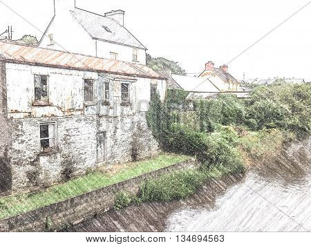 Old cottages, Ennistmon, Co Clare, Ireland by river, overgrown with trees and bushes. Daytime. Colour Pencil drawing generated from photograph.