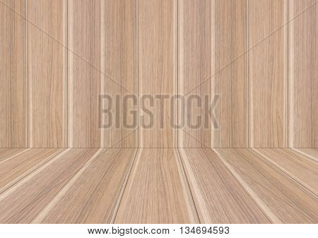 Perspective lines of natural wood wall, stock photo