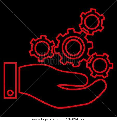 Mechanics Service glyph icon. Style is stroke flat icon symbol, red color, black background.