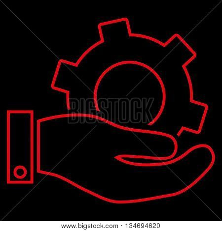 Service glyph icon. Style is outline flat icon symbol, red color, black background.