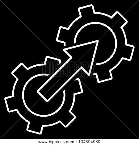Gear Integration glyph icon. Style is linear flat icon symbol, white color, black background.