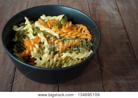colorful mix of spiral macaroni for background used