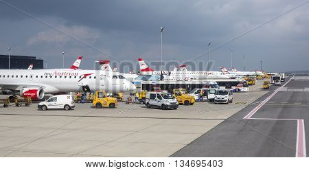 Vienna Austria- May 11 2016 Austrian Airlines preparing for take-off in Vienna airport. Vienna airport is home for Austrian Airlines and one of biggest european hubs.